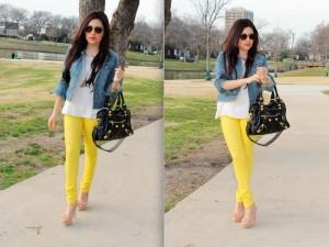 Желтые джинсы с чем носить