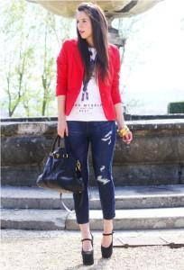 Пиджак красный с чем носить