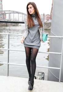 Серое платье с чем носить