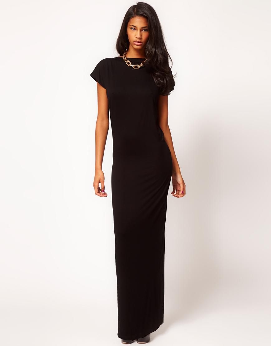 С чем носить чёрное платье в пол