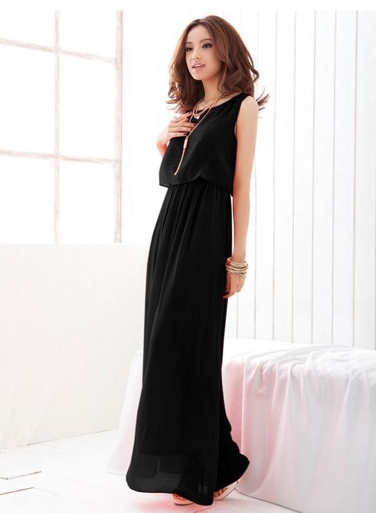 Черное платье в пол фото