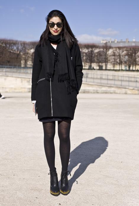 Черное пальто с чем носить