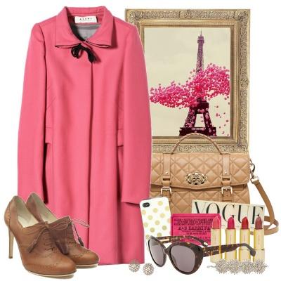 Модное розовое пальто, с чем носить