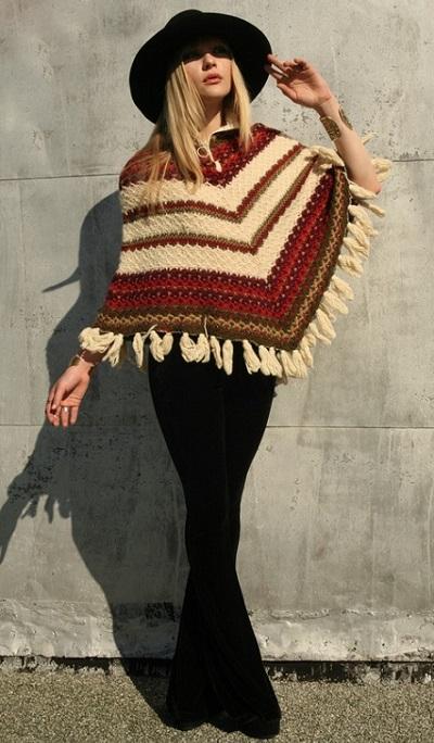 Модное пончо с чем носить