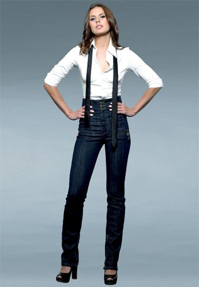Высокие джинсы с чем носить