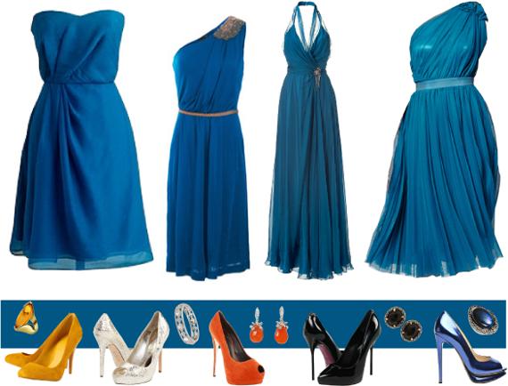 Модное синее платье с чем носить?