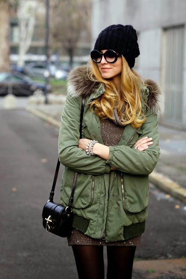 Шапка с зеленой курткой