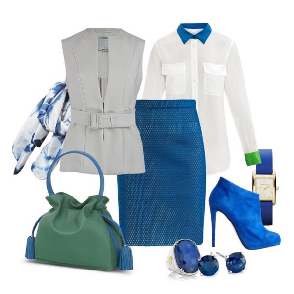 С чем носить синие ботильоны?