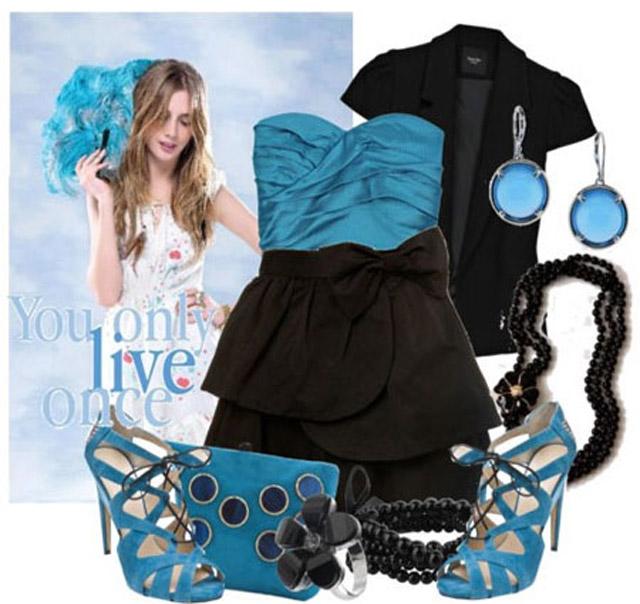 Голубой и черный цвет в одежде