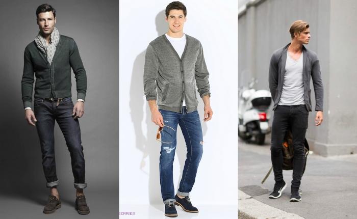Несколько фотографий парней в джинсах, свитере и футболке