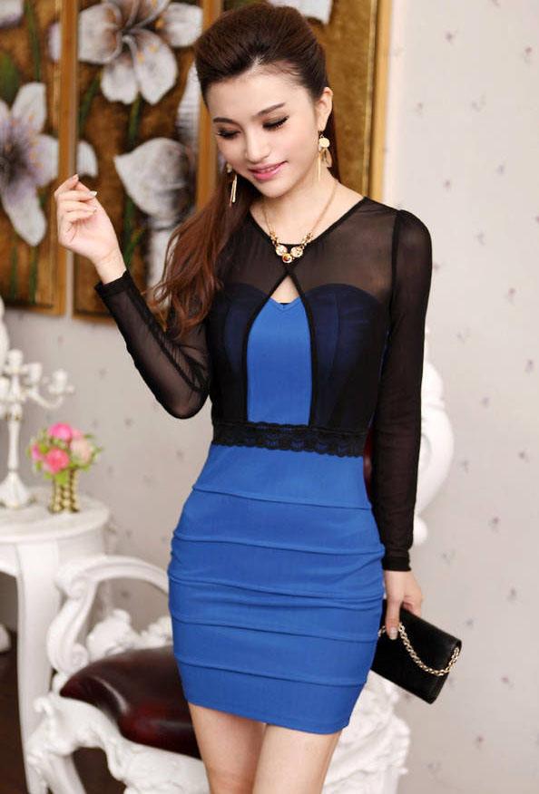 С чем носить синее платье-футляр?