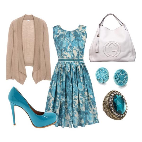Голубое платье, с чем его носить?