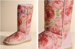 Розовые угги в цветах