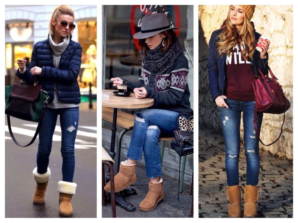 Коллаж фотографий девушек в джинсах и уггах бежевого цвета