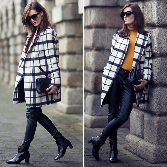 Пальто в клетку с чем носить