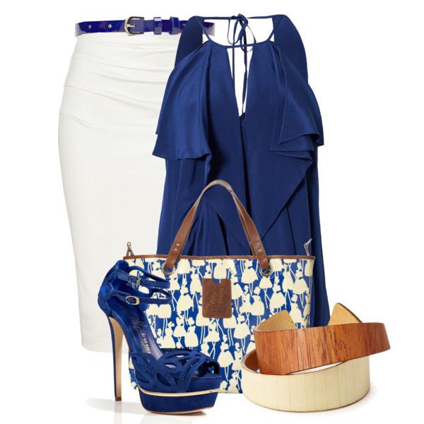 С чем носить блузку синюю