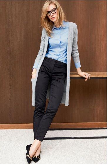 отличный офисный стиль из брюк, кардигана и голубой блузки