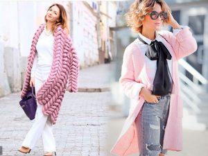 Две фотографии девушек в розовых кофтах