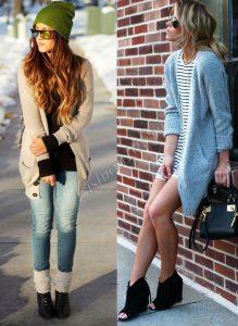 Две фотографии девушек в разных кофтах
