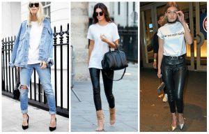 Три фотографии в джинсах и брюках
