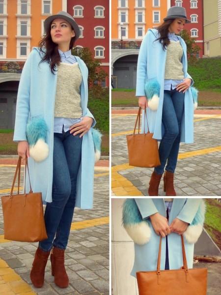 4b346616ce8f С чем носить голубой кардиган девушке: в офис, на прогулку, в школу ...