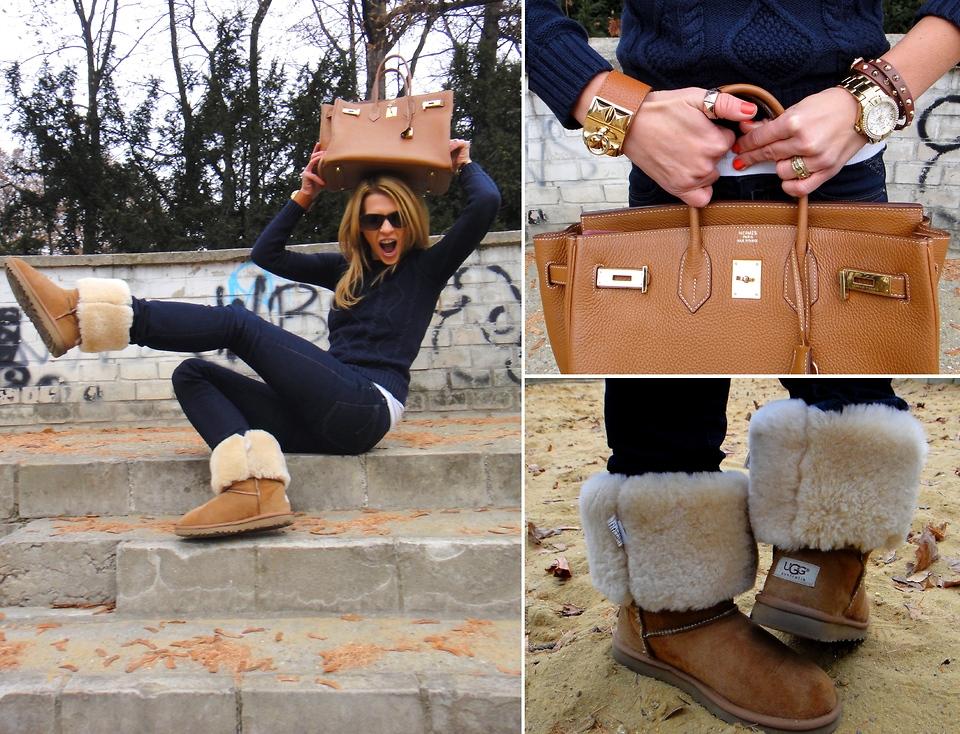 Несколько фотографий позирующей девушки с сумкой коричневого цвета