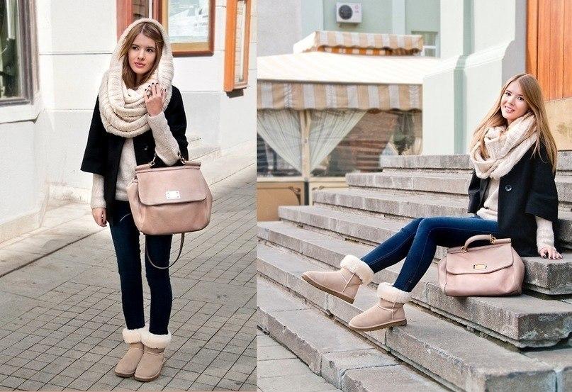Два фото девушки в уггах, сумкой, брюках и с шарфом на голове