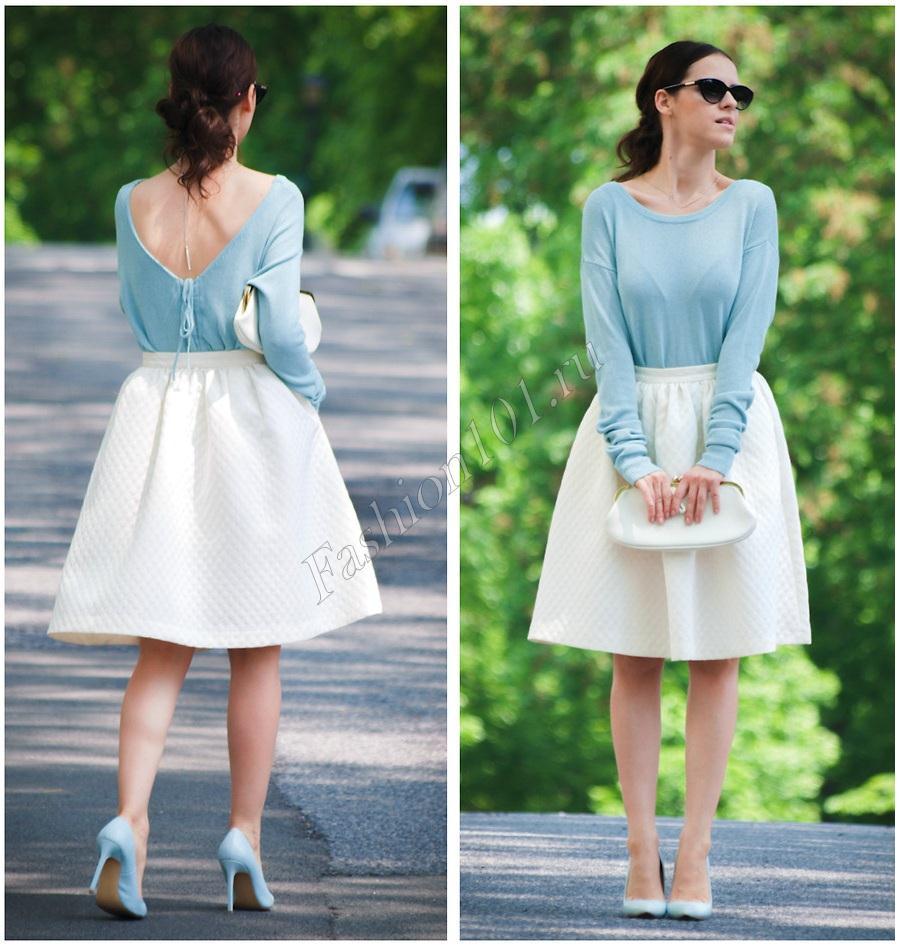 Девушка в белой юбке и голубой кофте - воздушный образ