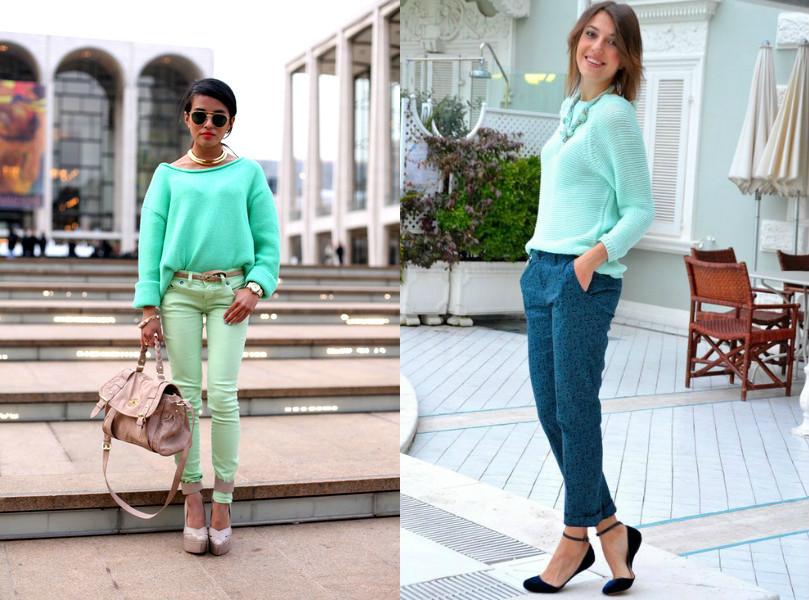 Два лука с брюками и с бирюзовом свитере