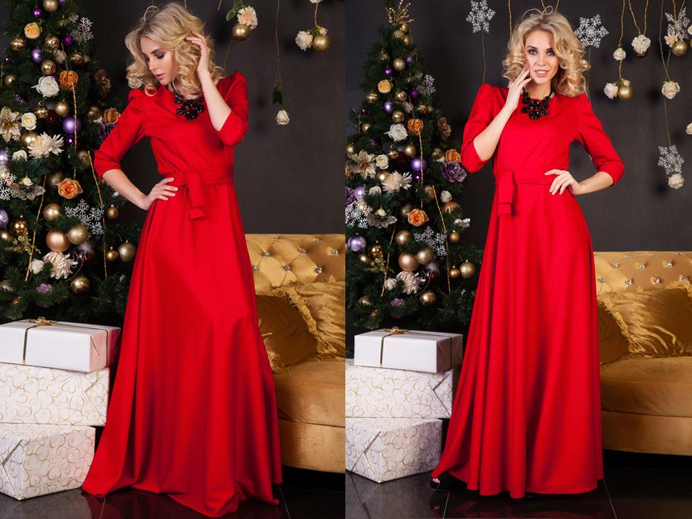 Коллаж фотографий девушки в ярко красном платье и в массивном колье
