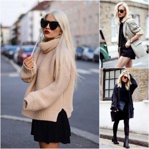 Коллаж фотографий девушки в разных образах: свитер, юбка, платье