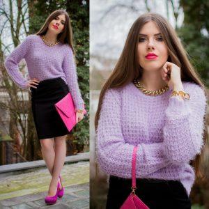 Коллаж фотографий в фиолетовом свитере и черной юбке