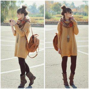 Коллаж фотографий: девушка в длинном горчичном свитере, черных колготах, в шарфе