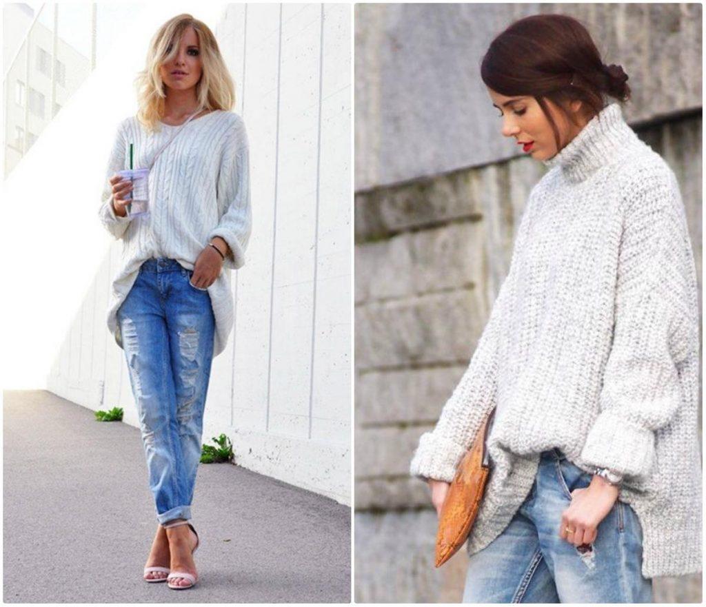 Модели в синих джинсах и белом свитере