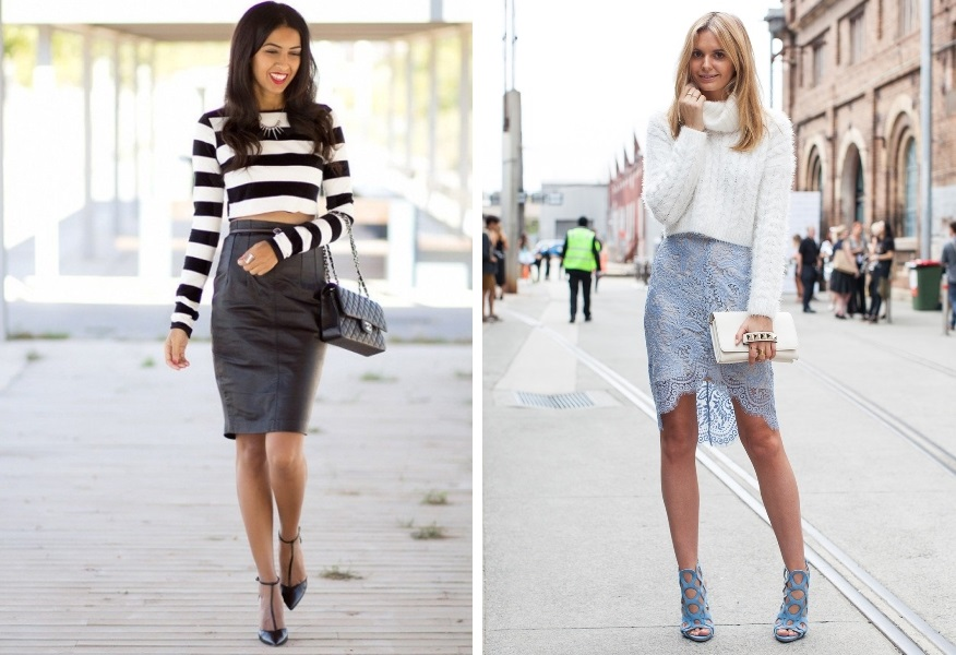 Две фотографии девушек в юбке и коротком свитере