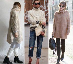 Коллаж фотографий: девушки в удлиненных свитерах, брюках и джинсах