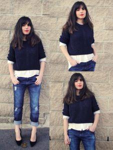 Коллаж фотографий модели в джинсах и свитере синего цвета