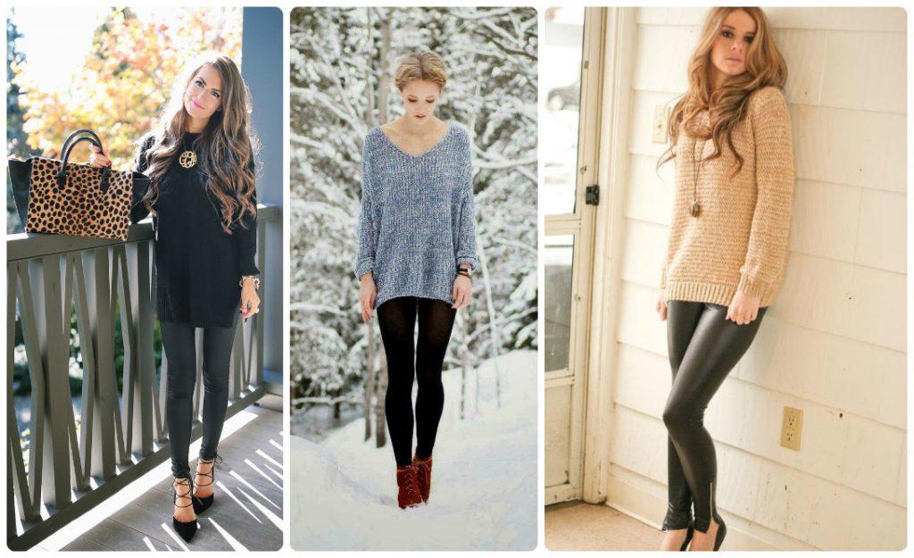 Три фотографии модели в удлиненных свитерах