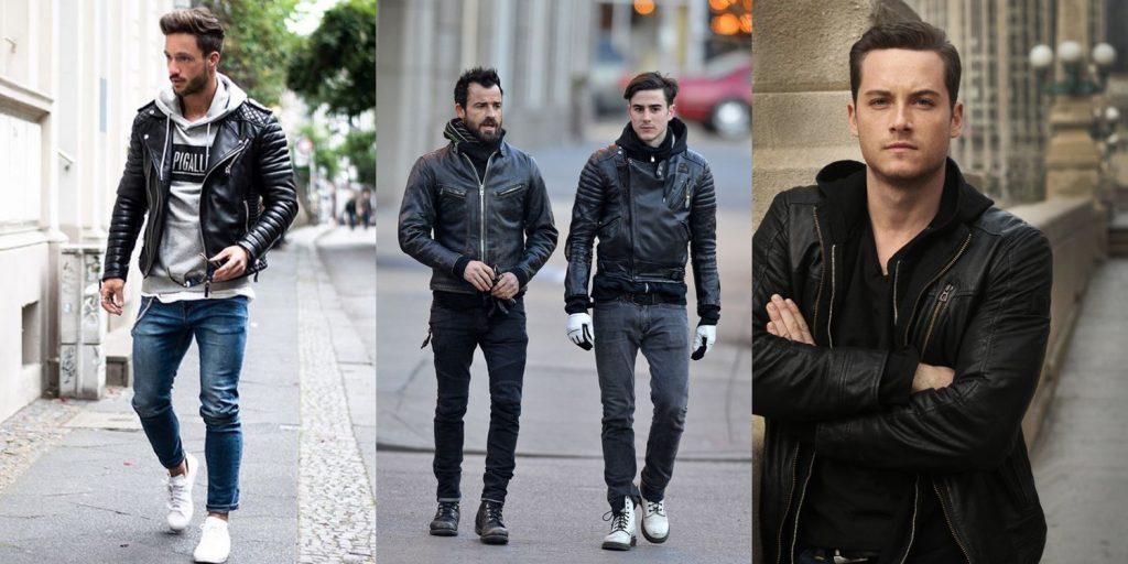 Коллаж фотографий мужчин в кожаных куртках косухах разных цветов