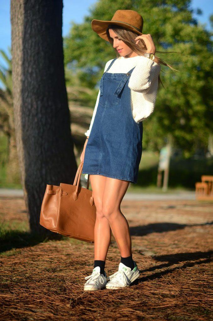 Луки с джинсовым сарафаном