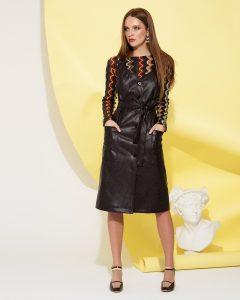 Кожаный сарафан модный образ